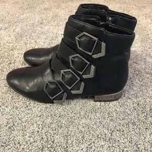 Sam Edelman Black Leather Buckled Booties